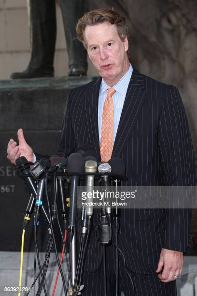 Attorney David Ring who represents an actress that has accused Harvey Weinstein of raping her in 2013 speak during a press conference outside the...