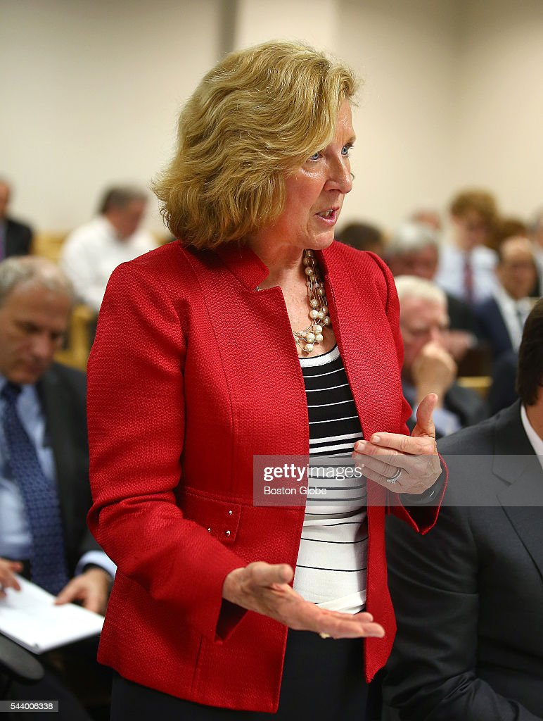 Attorney Elizabeth B. Burnett represents Shari E. Redstone, not pictured. Attorneys representing various factions of Sumner M. Redstone's family argue over who should gain control of his media companies, in Norfolk County Probate Court in Canton, Mass., on June 30, 2016.