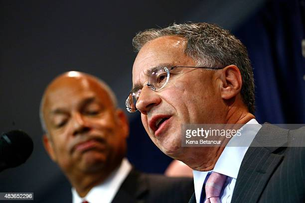 S Attorney for New Jersey Paul J Fishman speaks during a press conference next to Secretary of Homeland Security Jeh Johnson on August 11 2015 in...