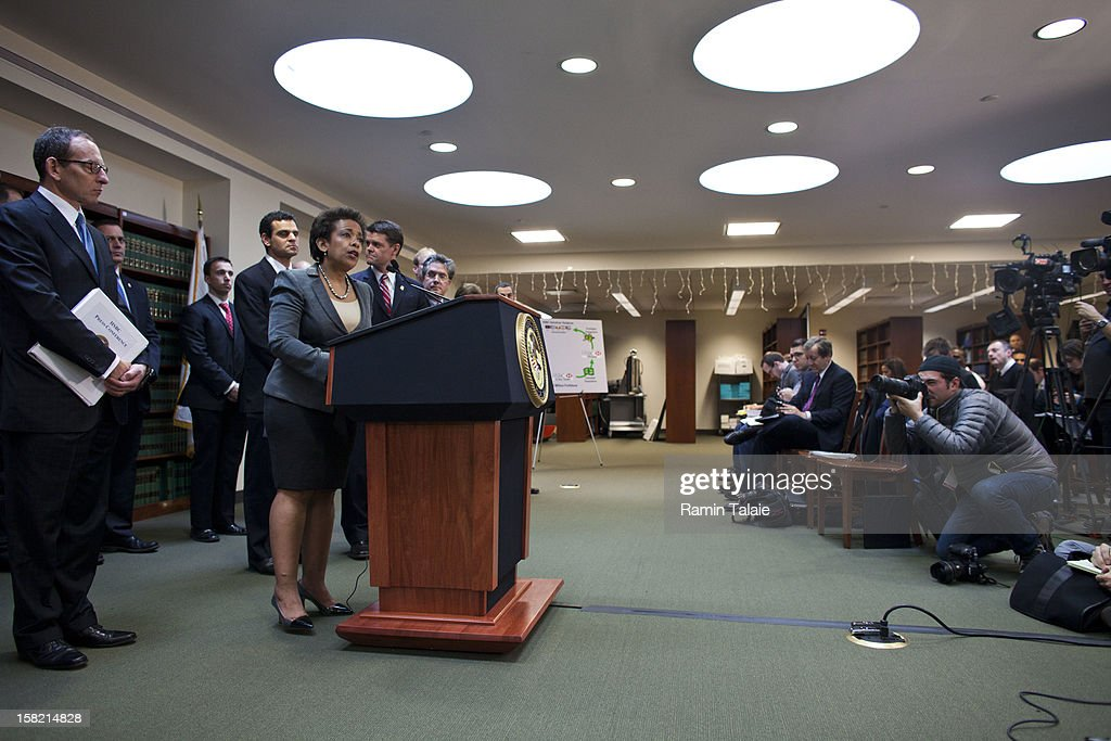 US Attorney for the Eastern District of New York Loretta Lynch speaks during a news conference to announce money laundering charges against HSBC on December 11, 2012 in the Brooklyn borough of New York City. HSBC Holdings plc and HSBC USA NA have agreed to pay $1.92 billion and enter into a deferred prosecution agreement with the U.S. Department of Justice in regards to charges involving money laundering with Mexican drug cartels.