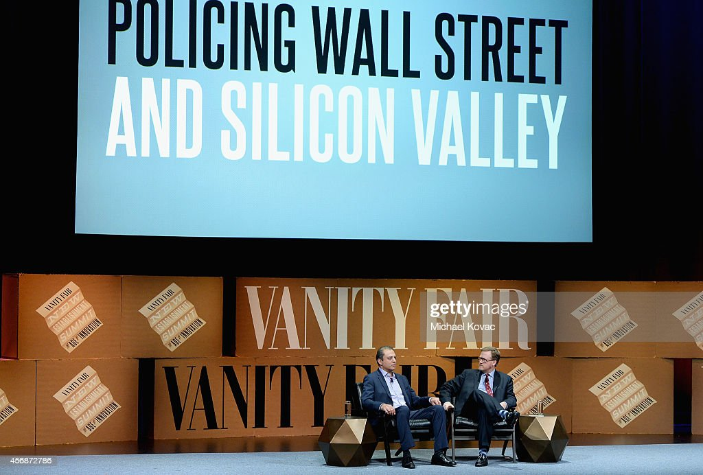 S Attorney for the Southern District of New York Preet Bharara and Vanity Fair Special Correspondent Bryan Burrough speak onstage during 'Policing...