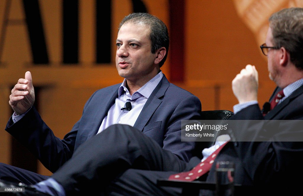 S Attorney for the Southern District of New York Preet Bharara speaks onstage during 'Policing Wall Street and Silicon Valley' at the Vanity Fair New...