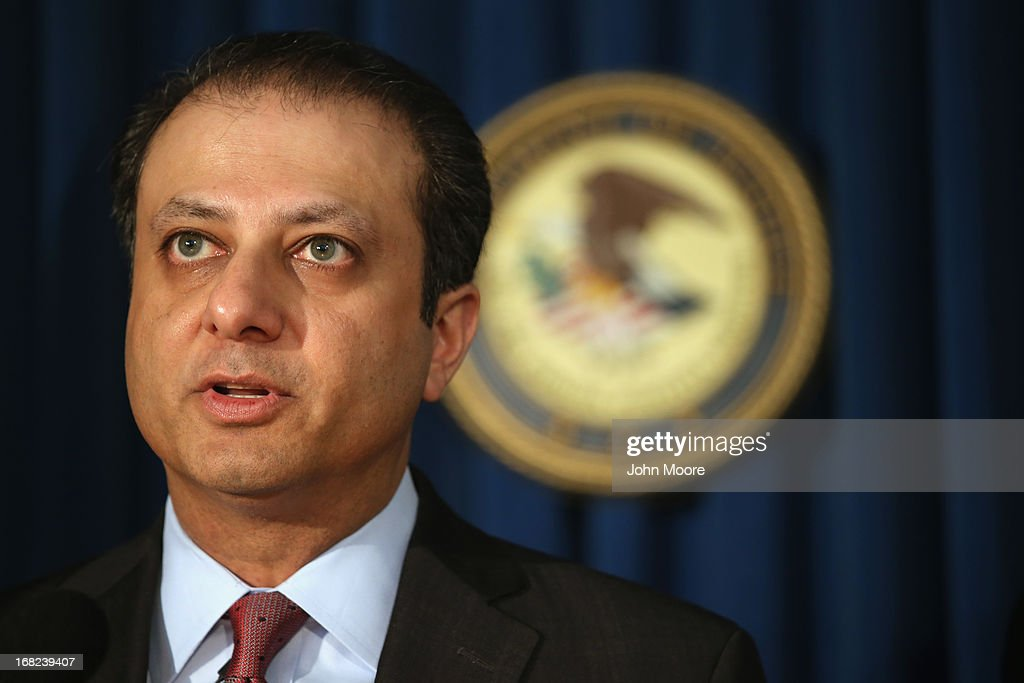 U.S. Attorney for the Southern District of New York Preet Bharara addresses the media on May 7, 2013 in New York City. Bharara announced an indictment that charged leaders of the Mission Settlement Agency with mail and wire fraud in a scheme that allegedly victimized 1,200 debters in a multi-million dollar scheme. The case was the first referral from the new Consumer Financial Protection Bureau.