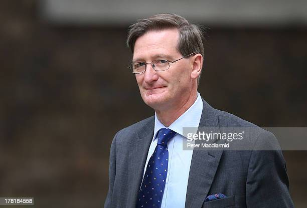 Attorney General Dominic Grieve arrives at 10 Downing Street on August 27 2013 in London England Earlier Prime Minister David Cameron returned early...