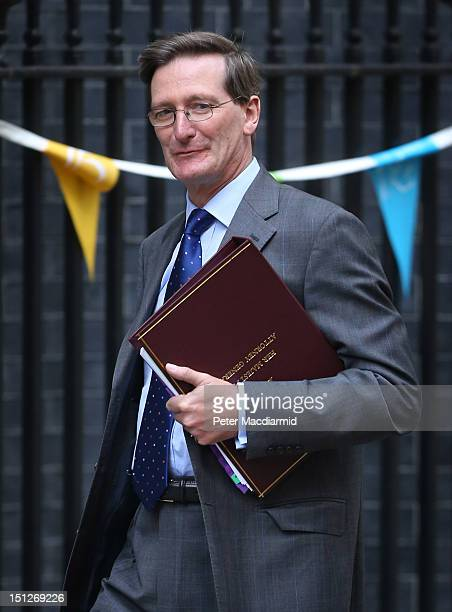 Attorney General Dominic Grieve arrives in Downing Street on September 5 2012 in London England Prime Minister David Cameron is holding his first...