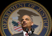 US Attorney General Eric H Holder Jr delivers remarks after being swornin at a installation ceremony as the 82nd Attorney General of the United...
