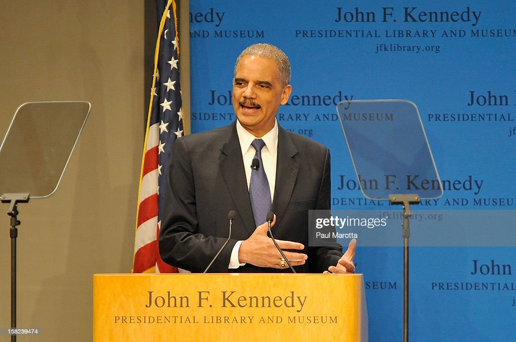 U.S. Attorney General Eric H. Holder Jr. speaks at The John F. Kennedy Presidential Library And Museum Forum On The Civil Rights Movement on December 11, 2012 in Boston, Massachusetts.