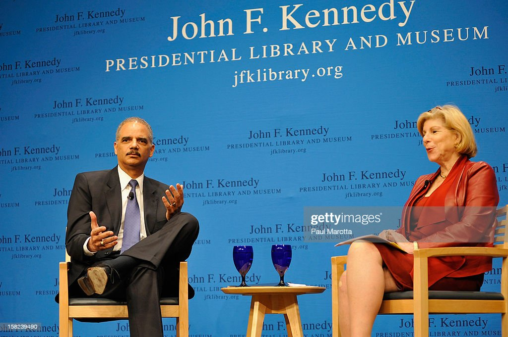 U.S. Attorney General Eric H. Holder Jr. speaks at The John F. Kennedy Presidential Library And Museum Forum On The Civil Rights Movement moderated by NPR Legal Affairs Correspondant Nina Totenberg on December 11, 2012 in Boston, Massachusetts.