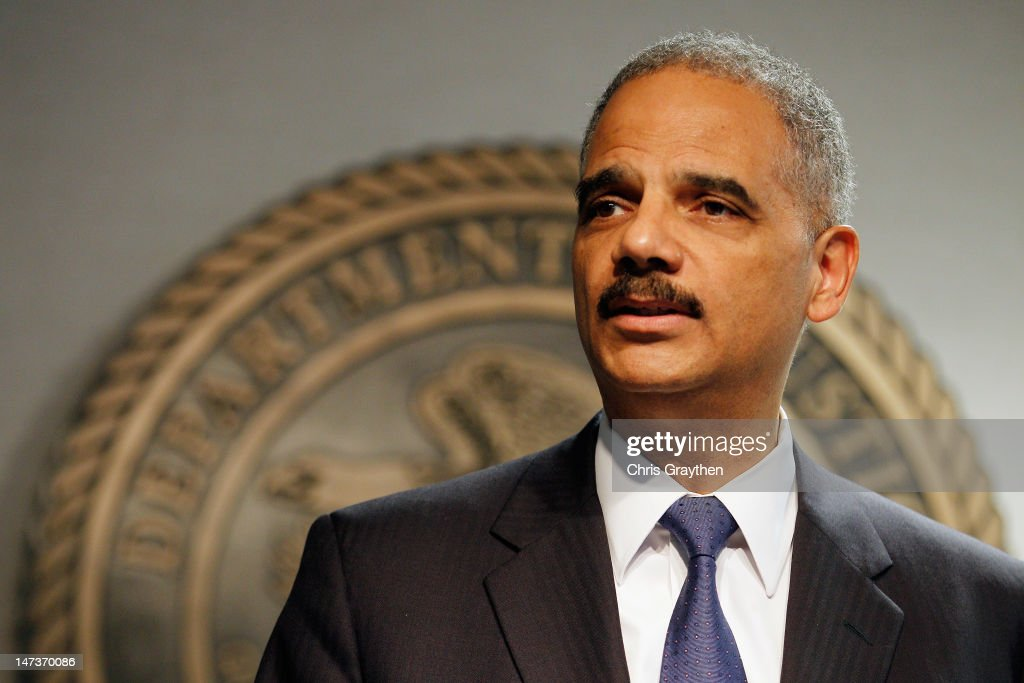 Attorney General <a gi-track='captionPersonalityLinkClicked' href=/galleries/search?phrase=Eric+Holder&family=editorial&specificpeople=1060367 ng-click='$event.stopPropagation()'>Eric Holder</a> addresses the media following a vote in the House of Representatives at the U.S. Attorney's Office Eastern District of Louisiana office on June 28, 2012 in New Orleans, Louisiana. The House has voted to hold Attourney General Holder in contempmt of Congress.