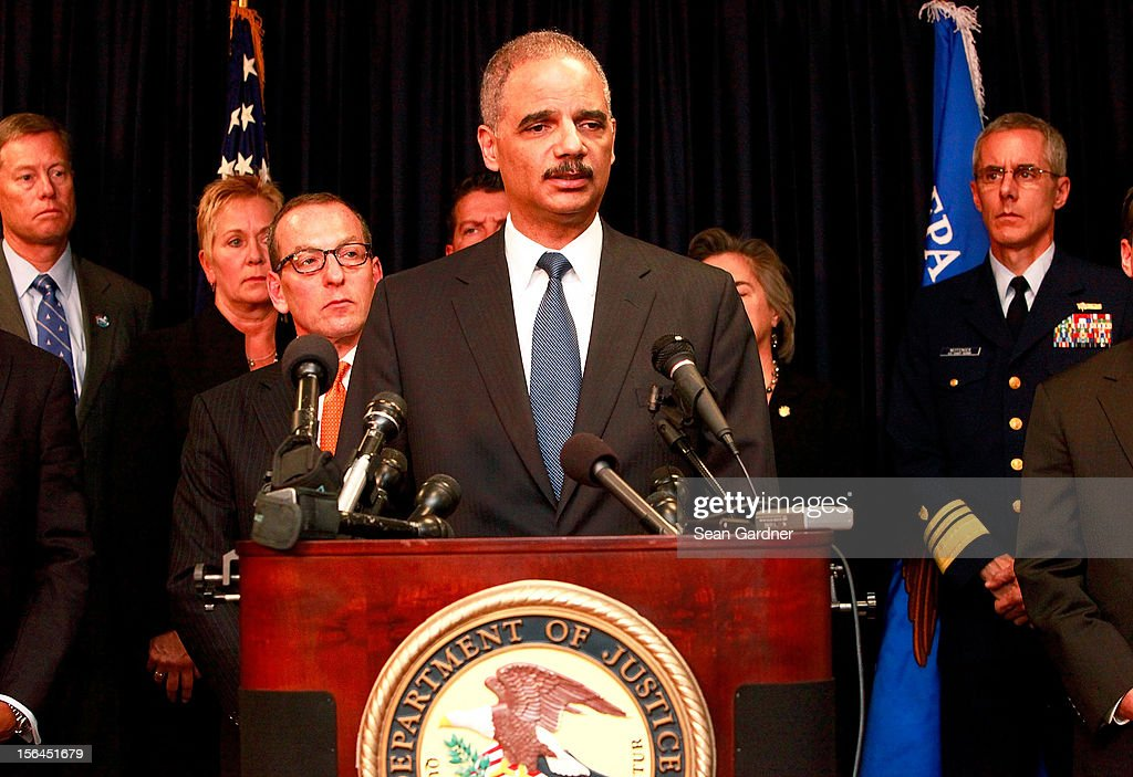 U.S. Attorney General <a gi-track='captionPersonalityLinkClicked' href=/galleries/search?phrase=Eric+Holder&family=editorial&specificpeople=1060367 ng-click='$event.stopPropagation()'>Eric Holder</a> addresses the media while announcing new criminal charges and settlement in the case against the BP oil company on November 15, 2012 in New Orleans, Louisiana. BP will pay $4.5 billion dollars in the settlement and plead guilty to 14 criminal charges.