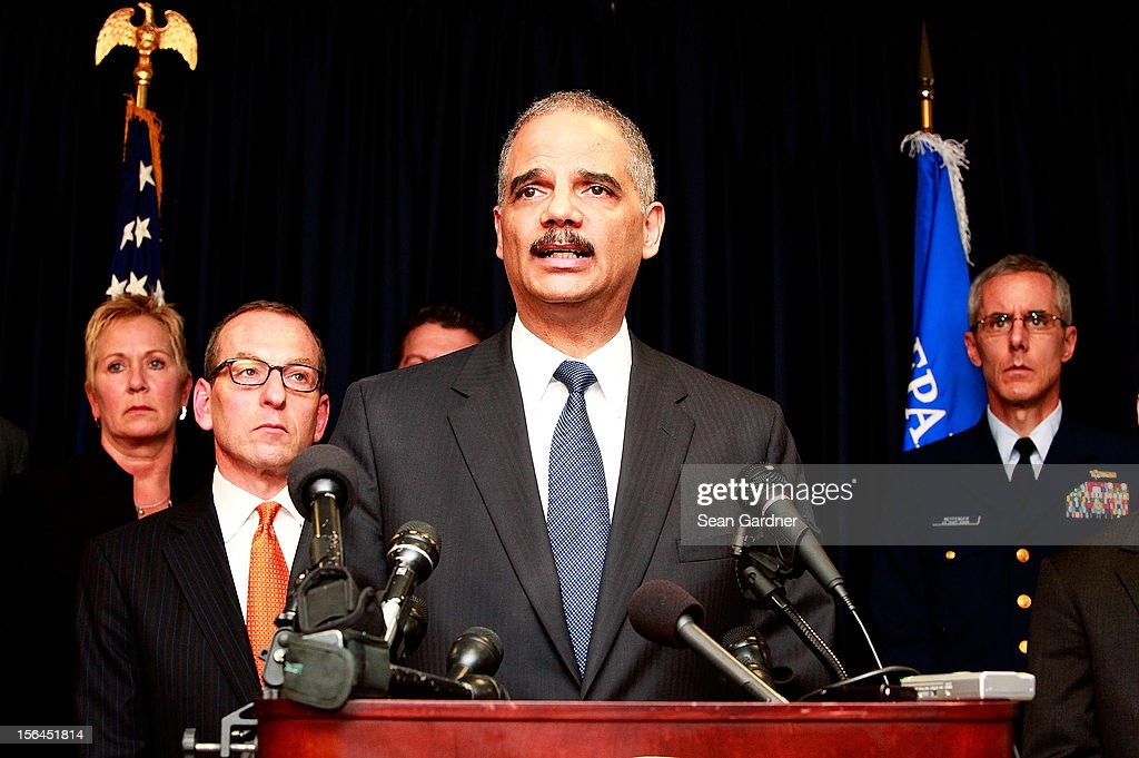 U.S. Attorney General Eric Holder addresses the media while announcing new criminal charges and settlement in the case against the BP oil company on November 15, 2012 in New Orleans, Louisiana. BP will pay $4.5 billion dollars in the settlement and plead guilty to 14 criminal charges.