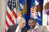 Attorney General Eric Holder and Wendell Pierce speak during the Federal Interagency Drug Endangered Children Task Force Public Awareness Campaign...
