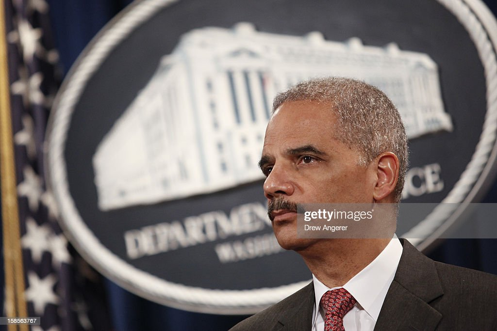 U.S. Attorney General <a gi-track='captionPersonalityLinkClicked' href=/galleries/search?phrase=Eric+Holder&family=editorial&specificpeople=1060367 ng-click='$event.stopPropagation()'>Eric Holder</a> attends a news conference at the Justice Department, on December 19, 2012 in Washington, DC. Holder announced investment bank UBS will pay 1.5 billion dollar fine to three on charges that the bank manipulated the libor interest rate.