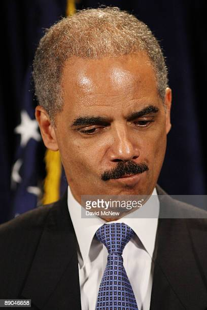 S Attorney General Eric Holder attends a press conference at the Los Angeles DEA field office in the Edward R Roybal Federal Building on July 15 2009...