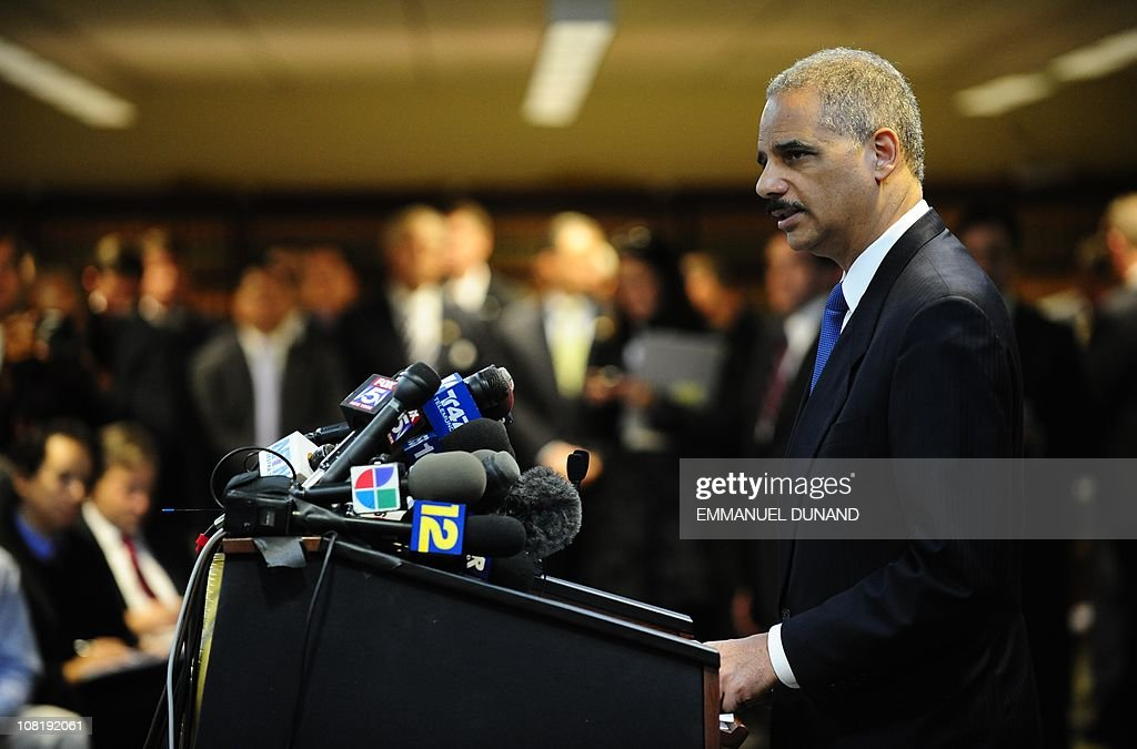US Attorney General Eric Holder attends a press conference at the US Attorney's Office in New York, January 20, 2011. Holder annouced that the FBI launched its biggest crackdown ever on the New York area's infamous La Cosa Nostra organized crime network, in a massive roundup before daybreak of 127 alleged mafia members and associates. AFP PHOTO/Emmanuel Dunand