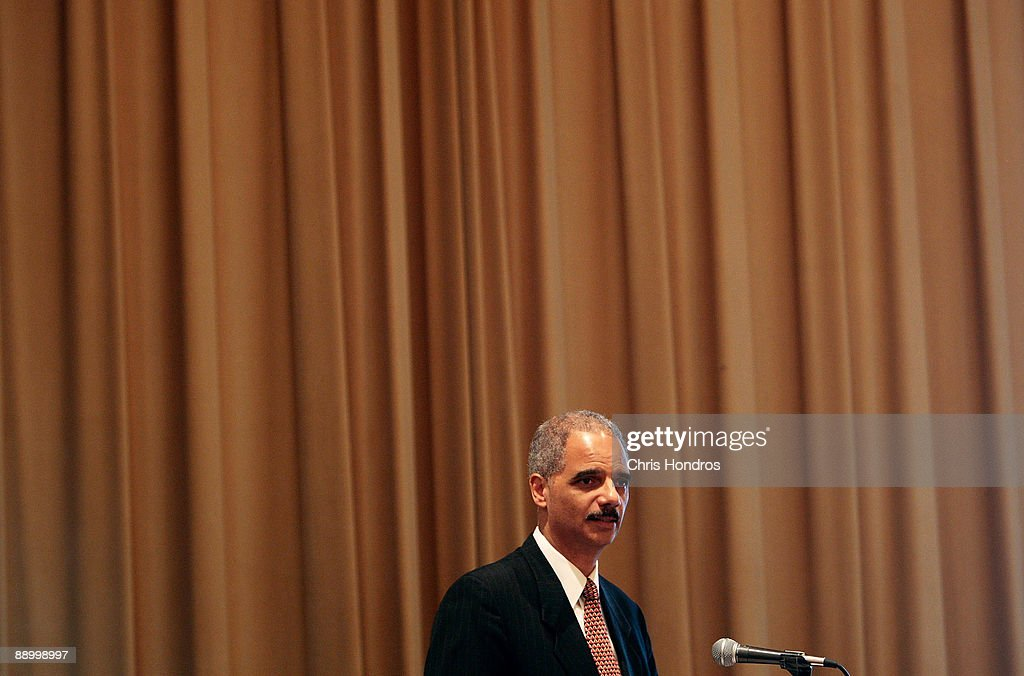 U.S. Attorney General <a gi-track='captionPersonalityLinkClicked' href=/galleries/search?phrase=Eric+Holder&family=editorial&specificpeople=1060367 ng-click='$event.stopPropagation()'>Eric Holder</a> gives the keynote address at the Clarence M. Mitchell Jr. Memorial Lecture Luncheon at the NAACP Centennial Convention July 13, 2009 in New York City. Holder addressed a group of prominent black lawyers during the luncheon, part of the National Association for the Advancement of Colored People's 100th anniversary convention.