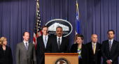 S Attorney General Eric Holder holds a press conference at Department of Justice headquarters regarding the investigation into the recent attempted...
