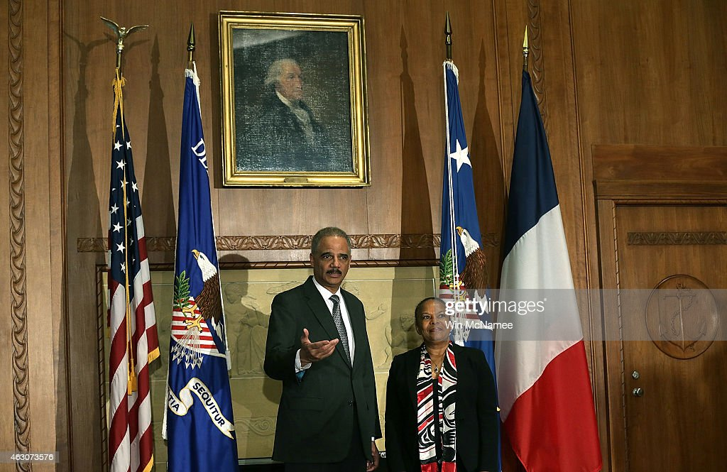 U.S. Attorney General <a gi-track='captionPersonalityLinkClicked' href=/galleries/search?phrase=Eric+Holder&family=editorial&specificpeople=1060367 ng-click='$event.stopPropagation()'>Eric Holder</a> (L) meets with French Minister of Justice <a gi-track='captionPersonalityLinkClicked' href=/galleries/search?phrase=Christiane+Taubira&family=editorial&specificpeople=3798541 ng-click='$event.stopPropagation()'>Christiane Taubira</a> (R) at the Justice Department February 9, 2015 in Washington, DC. Holder and Taubira were scheduled to discuss 'law enforcement cooperation and matters of common concern, including terrorist threats, foreign fighters and countering violent extremism.'