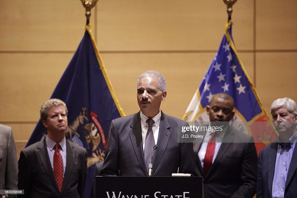 Attorney General <a gi-track='captionPersonalityLinkClicked' href=/galleries/search?phrase=Eric+Holder&family=editorial&specificpeople=1060367 ng-click='$event.stopPropagation()'>Eric Holder</a> speaks at a press conference with community leaders on September 27, 2013 in Detroit, Michigan. Holder discussed ways to support the city's economic revitalization, ensuring that existing resources are effectively supporting local priorities.