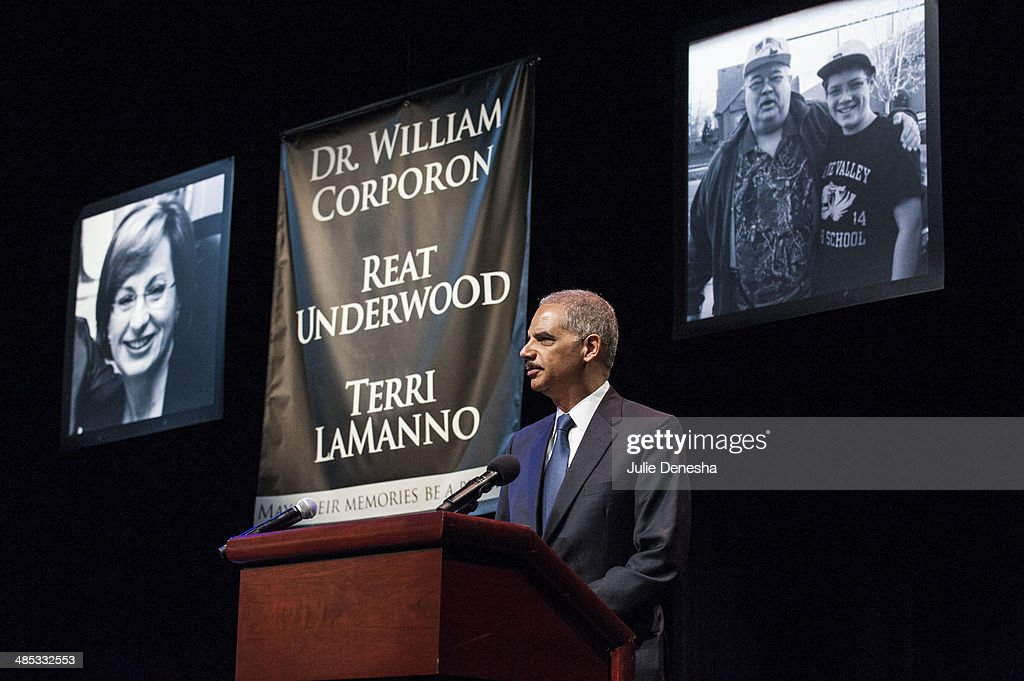 U.S. Attorney General <a gi-track='captionPersonalityLinkClicked' href=/galleries/search?phrase=Eric+Holder&family=editorial&specificpeople=1060367 ng-click='$event.stopPropagation()'>Eric Holder</a> speaks at an interfaith service for victims of Sunday's shootings on April 17, 2014 at the Jewish Community Center of Greater Kansas City, in Overland Park, Kansas. White supremacist Frazier Glenn Cross is in custody, charged with murder in the killing of two people outside the center and a third victim at a nearby Jewish retirement home on April 13.