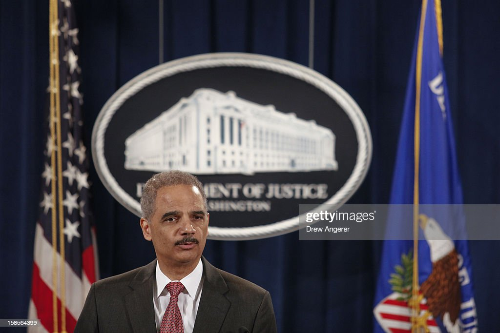 U.S. Attorney General <a gi-track='captionPersonalityLinkClicked' href=/galleries/search?phrase=Eric+Holder&family=editorial&specificpeople=1060367 ng-click='$event.stopPropagation()'>Eric Holder</a> speaks during a news conference at the Justice Department on December 19, 2012 in Washington, DC. Holder announced investment bank UBS will pay 1.5 billion dollar fine to three on charges that the bank manipulated the libor interest rate.