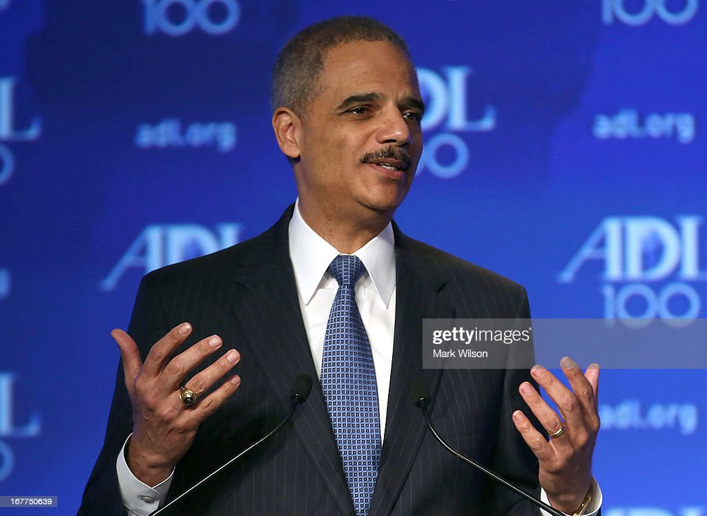 U.S. Attorney General Eric Holder speaks during the Anti Defamation League (ADL) Centennial Summit at the Grand Hyatt Hotel April 29, 2013 in Washington, DC. Attornery General Holder spoke about civil rights and talked briefly about the Boston Marathon bombing investigation.