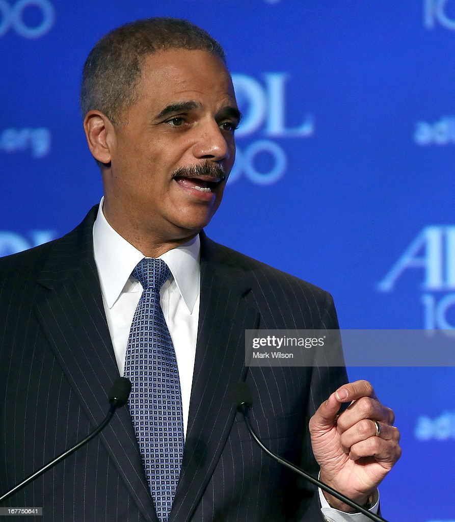 U.S. Attorney General <a gi-track='captionPersonalityLinkClicked' href=/galleries/search?phrase=Eric+Holder&family=editorial&specificpeople=1060367 ng-click='$event.stopPropagation()'>Eric Holder</a> speaks during the Anti Defamation League (ADL) Centennial Summit at the Grand Hyatt Hotel April 29, 2013 in Washington, DC. Attornery General Holder spoke about civil rights and talked briefly about the Boston Marathon bombing investigation.