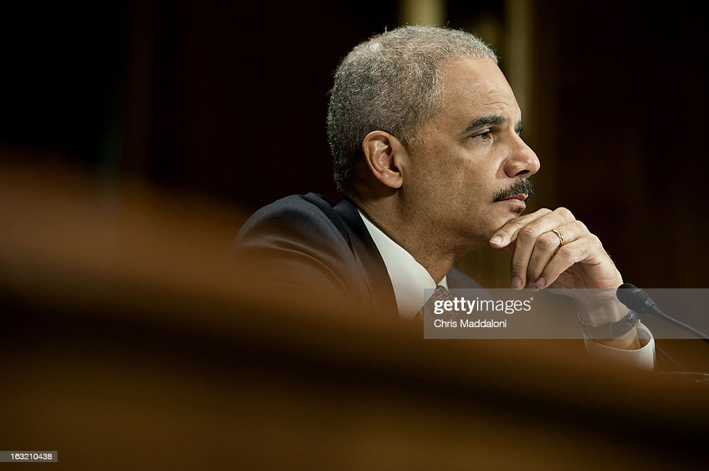 Attorney General Eric Holder testifies at a Senate Judiciary Committee hearing on oversight of the Justice Department.