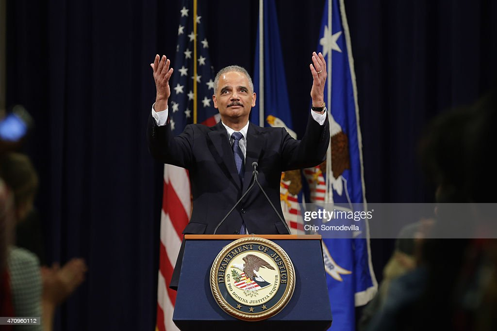 Farewell Ceremony Held For Outgoing Attorney General Eric Holder At Justice Dept.