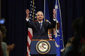 S Attorney General Eric Holder thanks Justice Department employees as he delivers his parting remarks at the Robert F Kennedy building April 24 2015...