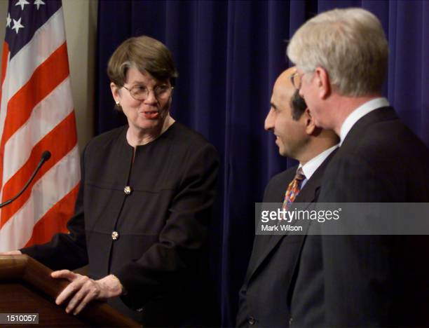 Attorney General Janet Reno assistant Attorney General Joel Klein and Iowa State Attorney General General Tom Miller remark on the Microsoft...