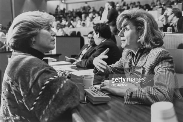 Attorney General Janet Reno talks with Ariana Huggington at the GOP Conference on Aug 3 1995