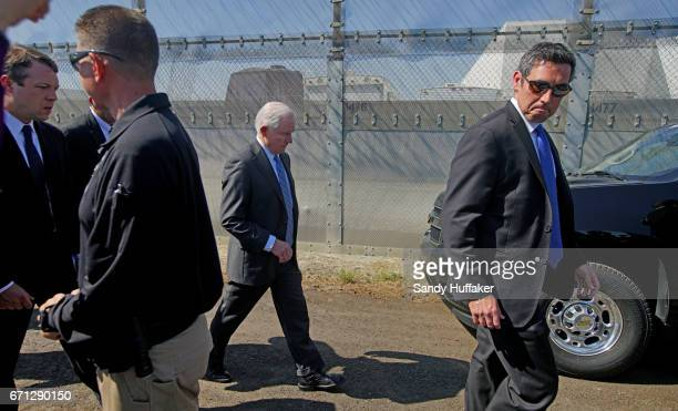 Attorney General Jeff Session heads to his vehicle after speaking to members of the media media during a tour of the border and immigrant detention...