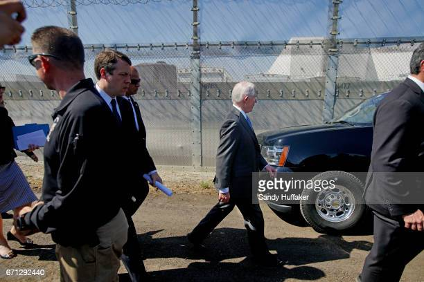 Attorney General Jeff Session heads to his vehicle after speaking to the media during a tour of the border and immigrant detention operations at...