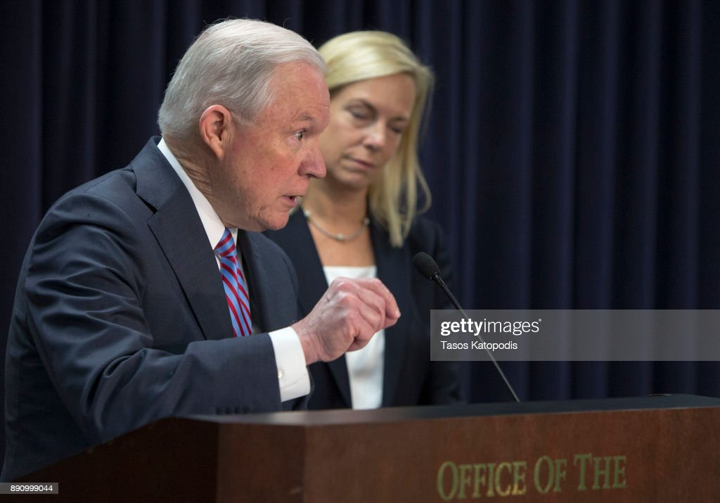 Attorney General Sessions And DHS Secretary Nielsen Hold News Conference In Baltimore