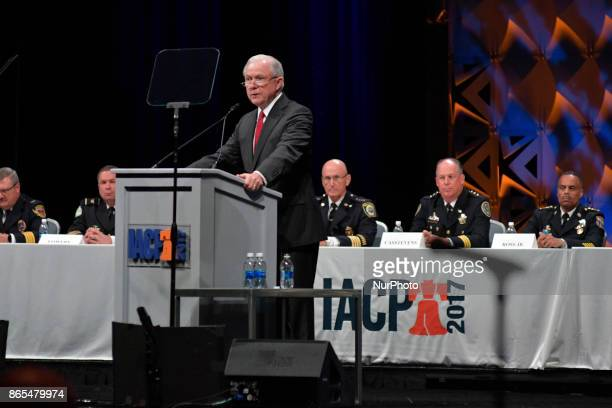 US Attorney General Jeff Sessions announces plans to combat MS13 during the General Assembly of the International Association of Chiefs of Police...