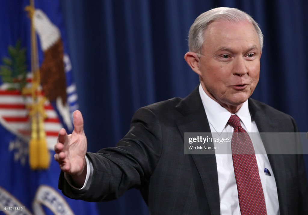 U.S. Attorney General Jeff Sessions answers questions during a press conference at the Department of Justice on March 2, 2017 in Washington, DC. Sessions addressed the calls for him to recuse himself from Russia investigations after reports surfaced of meetings he had with the Russian ambassador during the U.S. presidential campaign.