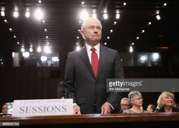 Attorney General Jeff Sessions appears before the Senate Intelligence Committee on June 13 2017 in Washington DC The nation's chief law enforcement...