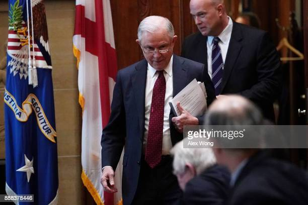 S Attorney General Jeff Sessions arrives a roundtable discussion December 8 2017 at the Justice Department in Washington DC Sessions hosted a...