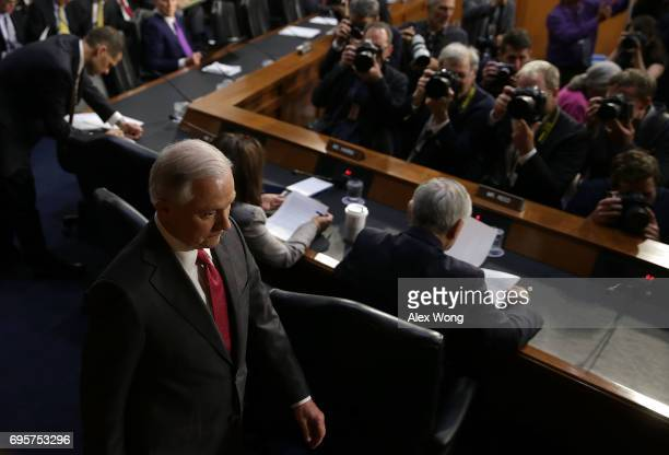 Attorney General Jeff Sessions arrives at a hearing before the Senate Intelligence Committee on June 13 2017 in Washington DC The nation's chief law...