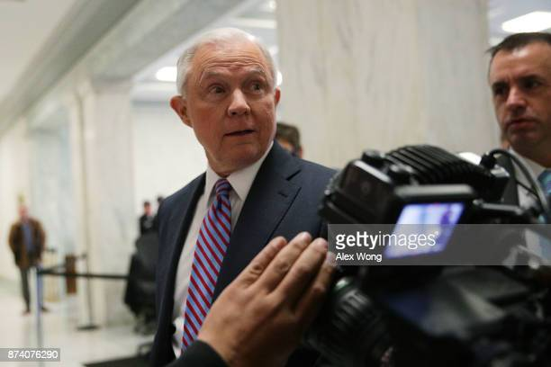 S Attorney General Jeff Sessions arrives on Capitol Hill for a hearing before the House Judiciary Committee November 14 2017 in Washington DC...