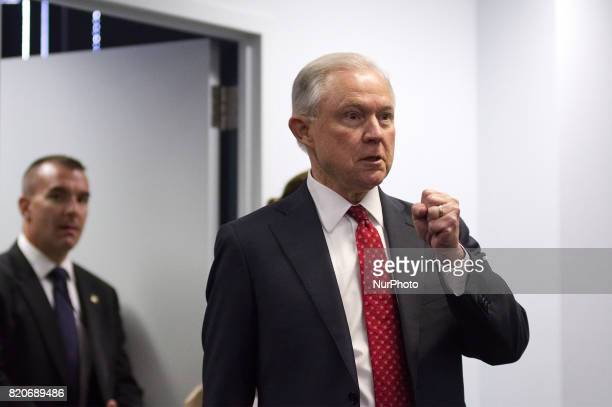 US Attorney General Jeff Sessions arrives to deliver a speech outlining the Department of Justice policy regarding Sanctuary Cities and crime by...