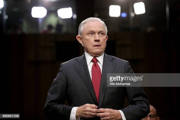 S Attorney General Jeff Sessions arrives to testify before the Senate Intelligence Committee on Capitol Hill June 13 2017 in Washington DC Sessions...