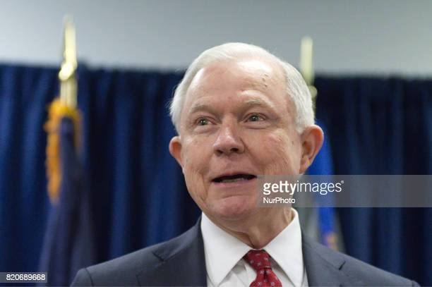 US Attorney General Jeff Sessions delivers a speech outlining the Department of Justice policy regarding Sanctuary Cities and crime by illegal...