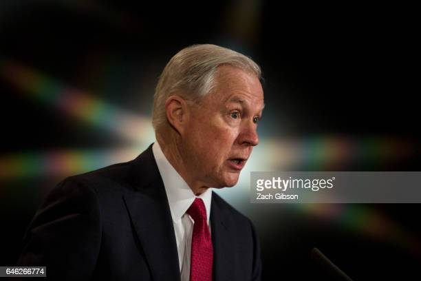 S Attorney General Jeff Sessions delivers remarks at the Justice Department's 2017 African American History Month Observation at the Department of...