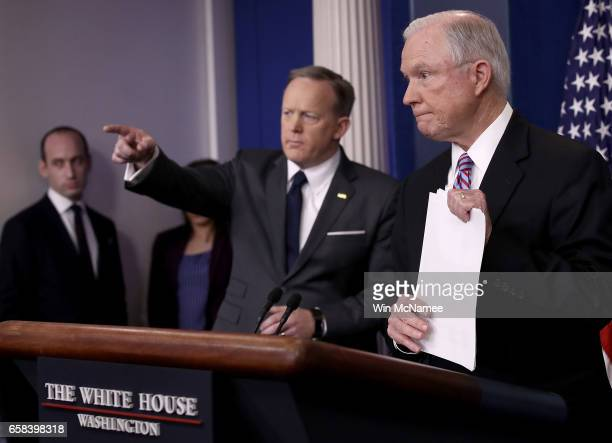 S Attorney General Jeff Sessions delivers remarks during the daily White House press briefing March 27 2017 in Washington DC Sessions announced in a...