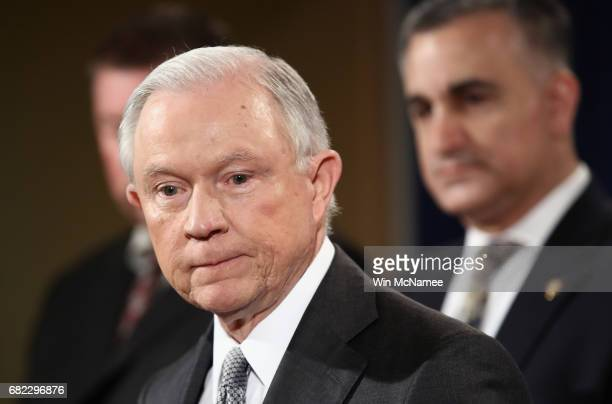 S Attorney General Jeff Sessions delivers remarks during the Sergeants Benevolent Association of New York City event on May 12 2017 in Washington DC...
