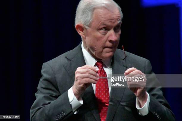 US Attorney General Jeff Sessions delivers the keynote address during the general assembly of the International Association of Chiefs of Police...