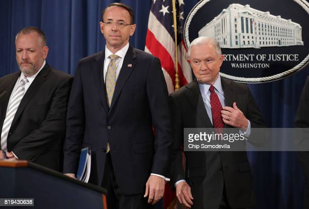 Attorney General Jeff Sessions Deputy Attorney General Rod Rosenstein and other law enforcement officials hold a news conference to announce an...