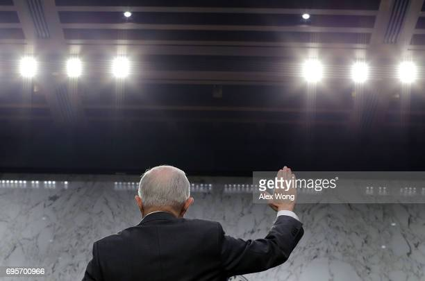 Attorney General Jeff Sessions is sworn in during a hearing before the Senate Intelligence Committee on June 13 2017 in Washington DC The nation's...